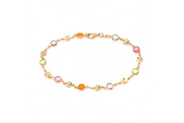 Gold and Multi Color Flower Anklet Bracelet