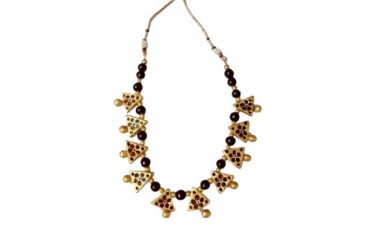 Gold and Maroon Triangle Beads Terracotta Necklace