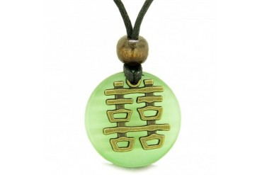 Double Happiness Feng Shui Amulet Green Cats Eye Coin Medallion Necklace