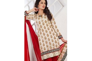 Fascinating off white churidar suit