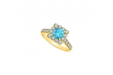 Round Created Blue Topaz And Cubic Zirconia Halo Square Engagement Ring
