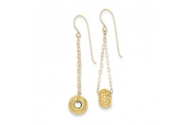 Diamond Cut Bead Dangle Earrings in 14 Karat Yellow Gold
