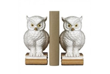 Wise Scholarly Owl on Books Set of Bookends Library Desk Decor