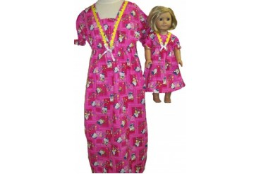 matching girl and doll pajamas - matching-girl-doll-kitty-nightgown