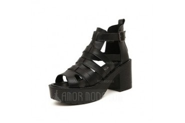 Real Leather Wedge Heel Sandals Pumps Peep Toe With Buckle shoes (087048597)
