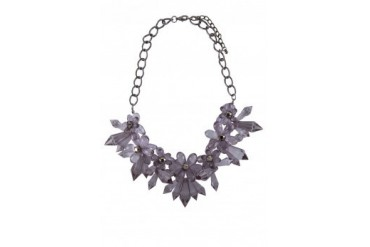 Saturation Faux Crystal Flower Statement Necklace