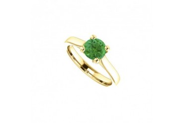 Birthstone Created Emerald Engagement Ring in 14kt Yellow Gold 1.00 CT TGW