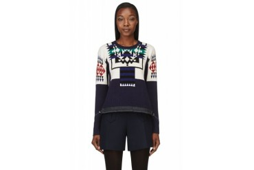 Sacai Luck Navy And Ivory Patterned Drawstring Sweater