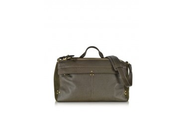 Raoul Khaki Grain Leather and Velvet Shoulder Bag