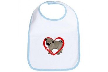 Pug Puppy Love Heart Dog Bib by CafePress
