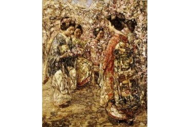 Five Japanese Girls Among Blossoming Trees Poster Print by Edward Atkinson