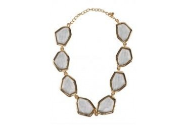 Kenneth Jay Lane Gold And Crystal Odd Shape Headlight Necklace