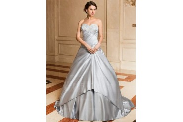 Ball-Gown Sweetheart Watteau Train Satin Wedding Dress With Ruffle Lace (002004531)