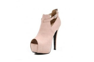 Suede Stiletto Heel Pumps Closed Toe Ankle Boots With Buckle shoes (087048400)
