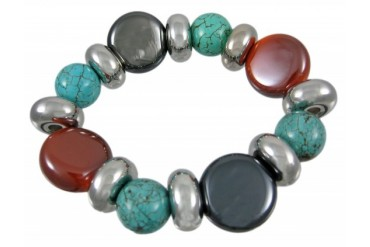Stunning Glass amp Turquoise Bead Stretch Bracelet