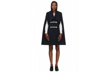 Carven Navy Wool Caban Cape Coat