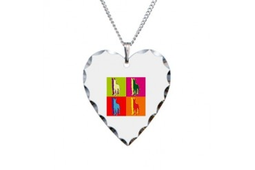 Great Dane Silhouette Pop Art Dogs Necklace Heart Charm by CafePress