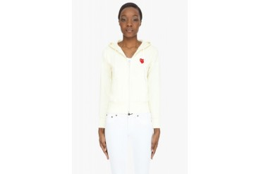 Comme Des Garons Play Cream Red Emblem Zip Up Hoodie