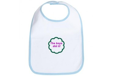 , triplet boys did it Baby / kids / family Bib by CafePress