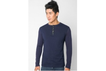 Leather Placket Henley