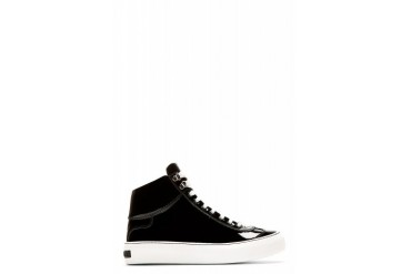 Jimmy Choo Black Patent Argyle High top Sneakers