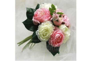 Cute Round Satin Bridesmaid Bouquets (124032129)