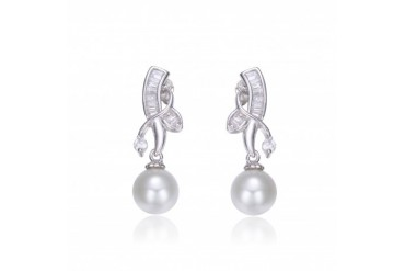 Sterling Silver Cubic Zirconia Faux Pearl Drop Earrings