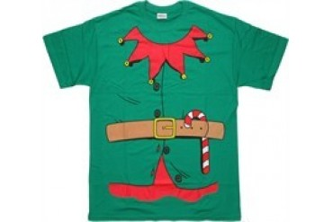 Elf Costume Belted With Candy Cane T-Shirt