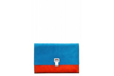 Proenza Schouler Ssense Exclusive Peacock Blue Suede Small Lunch Bag Clutch