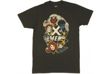 Marvel Comics X-Men Group Faces Around Name T-Shirt Sheer