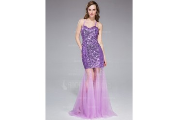 Trumpet/Mermaid Halter Sweep Train Tulle Charmeuse Sequined Prom Dress With Beading (018045979)