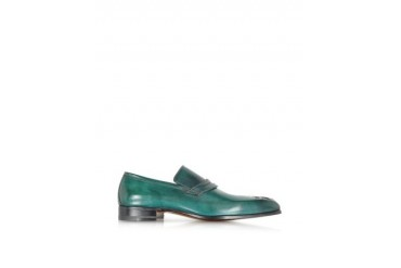 Green Petrol Washed Calf Leather Slip On Loafer