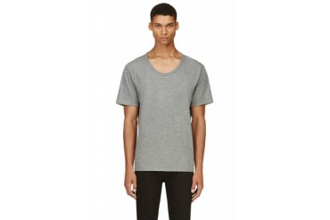 T By Alexander Wang Grey Classic Scoopneck T shirt