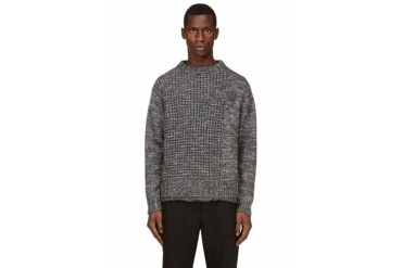 Sacai Grey Marled Knit Sweater