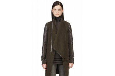 Rick Owens Brown Cashmere And Leather Exploder Coat