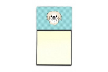 Checkerboard Blue Pekingese Refiillable Sticky Note Holder or Postit Note D