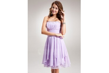 Empire Strapless Knee-Length Chiffon Homecoming Dress With Ruffle Beading (022016384)