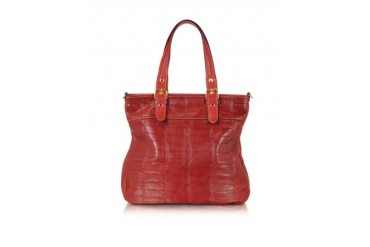 Red Croco Stamped Italian Leather Tote