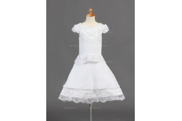 A-Line/Princess Scoop Neck Knee-Length Chiffon Flower Girl Dress With Lace (010015774)