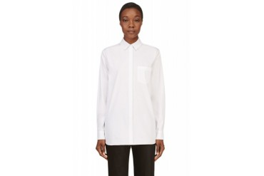 T By Alexander Wang White Poplin And Mesh Blouse