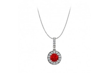 Brilliant Cut Ruby and CZ Halo Pendant with Free Chain