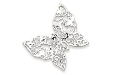 Sterling Silver Polished Filigree Butterfly Pendant Chain Included