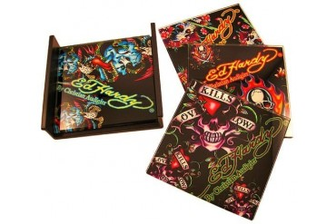Set Of 4 Ed Hardy Skulls Black Glass Coasters