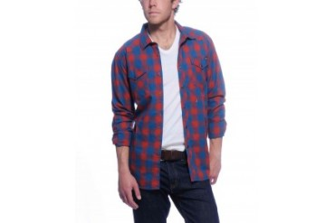 Rvca 'Stereomoon' Long Sleeve Button Down Shirt Red, S