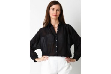 Bella Fiora Dobby V Neck Dark Long Sleeve Shirt