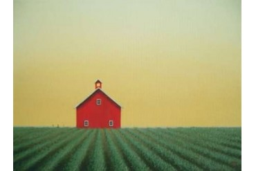 Barn Yellow Sky Poster Print by Sharon France (9 x 12)
