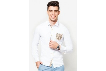 Long Sleeve Shirt with Floral Pocket