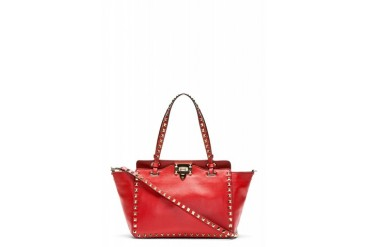 Valentino Red Leather Rockstud Mini Tote
