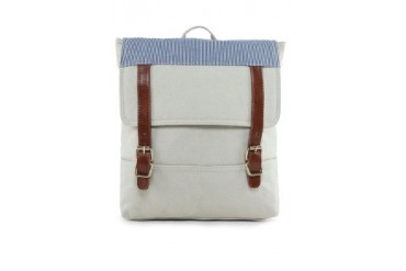 EZRA by ZALORA Canvas Backpack With Stripe Panel Flap