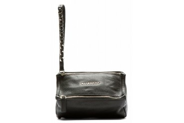 Givenchy Black Leather Pandora Wristlet Pouch